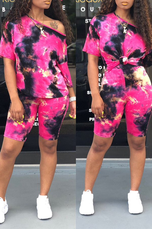Lovely Casual Tie-dye Printed Rose Red Two-piece Shorts Set