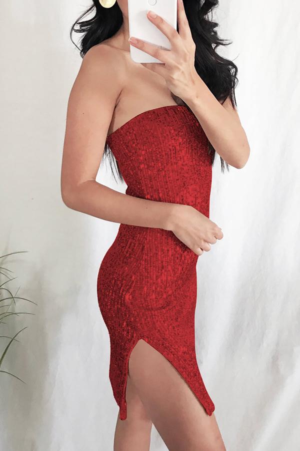 Lovely Stylish Off The Shoulder Side Split Red Mini Prom Dress