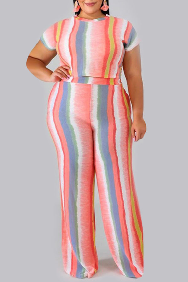 Lovely Casual O Neck Striped Printed Pink Plus Size Two-piece Pants Set