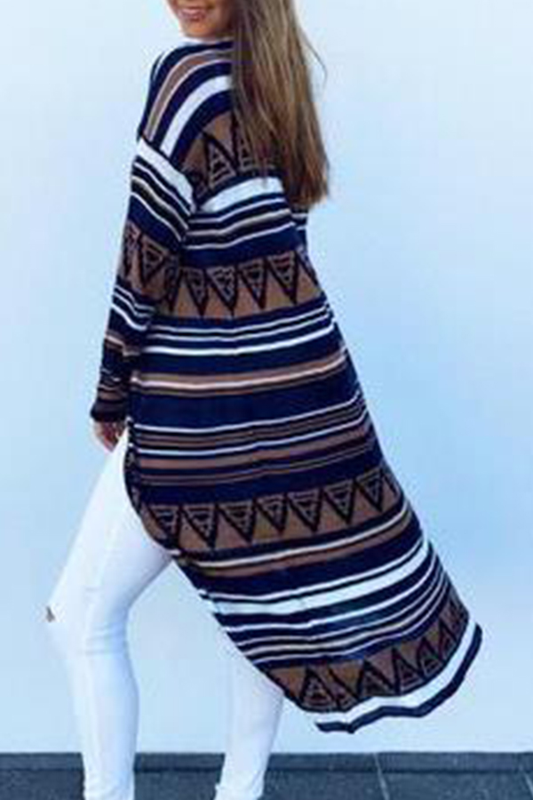 Lovely Casual Striped Printed Multicolor Cotton Coat
