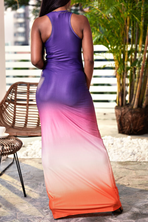 Lovely Casual U Neck Printed Patchwork Purple Floor Length Dress