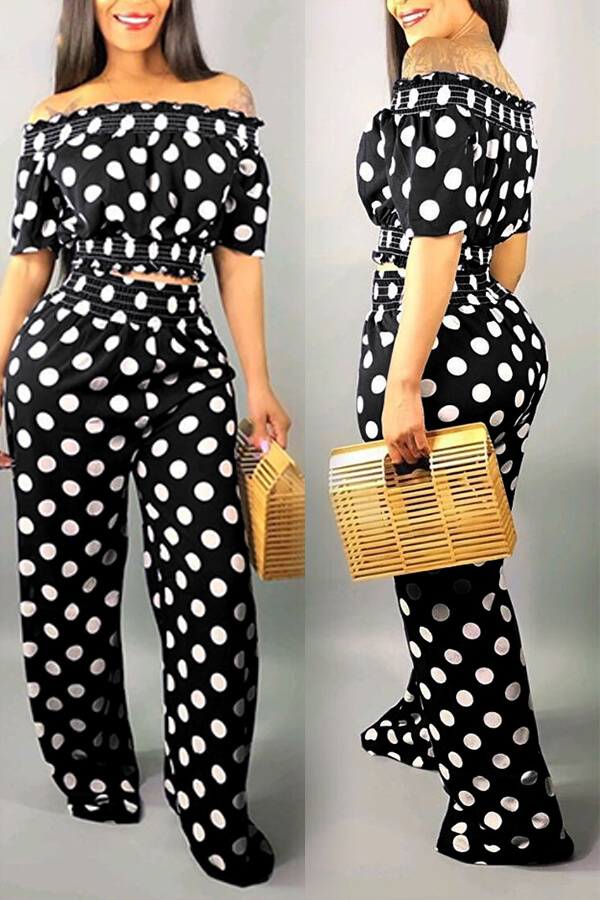 Lovely Sweet Off The Shoulder Dot Printed Black Two-piece Pants Set фото