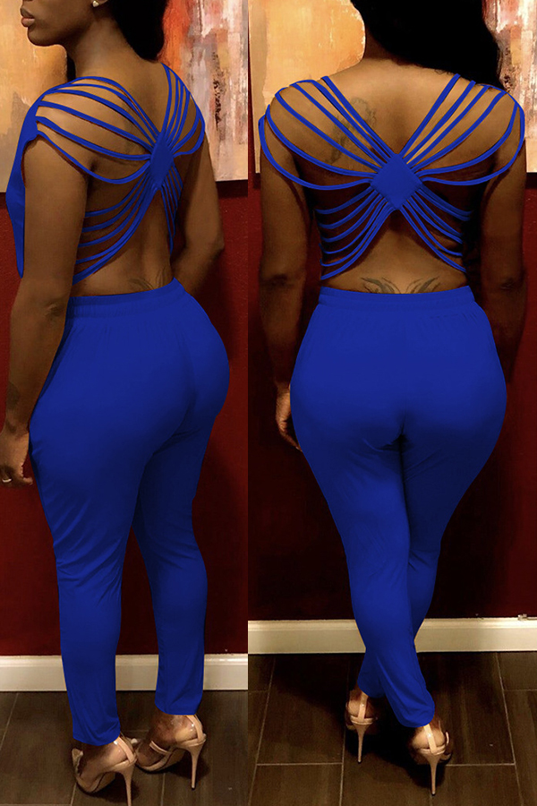 Lovely Sexy O Neck Hollow-out Blue One-piece Jumpsuit