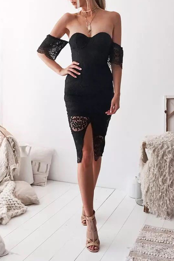 Lovely Sexy Off The Shoulder Lace Trim Patchwork Black Knee Length Prom Dress