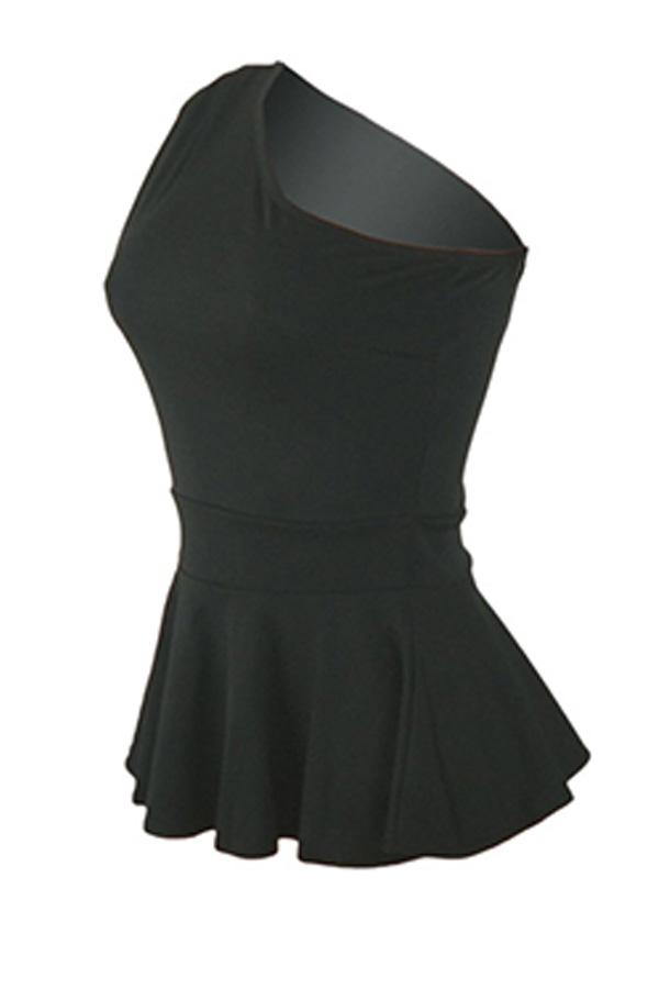 Lovely Stylish One Shoulder Ruffle Black Blouse