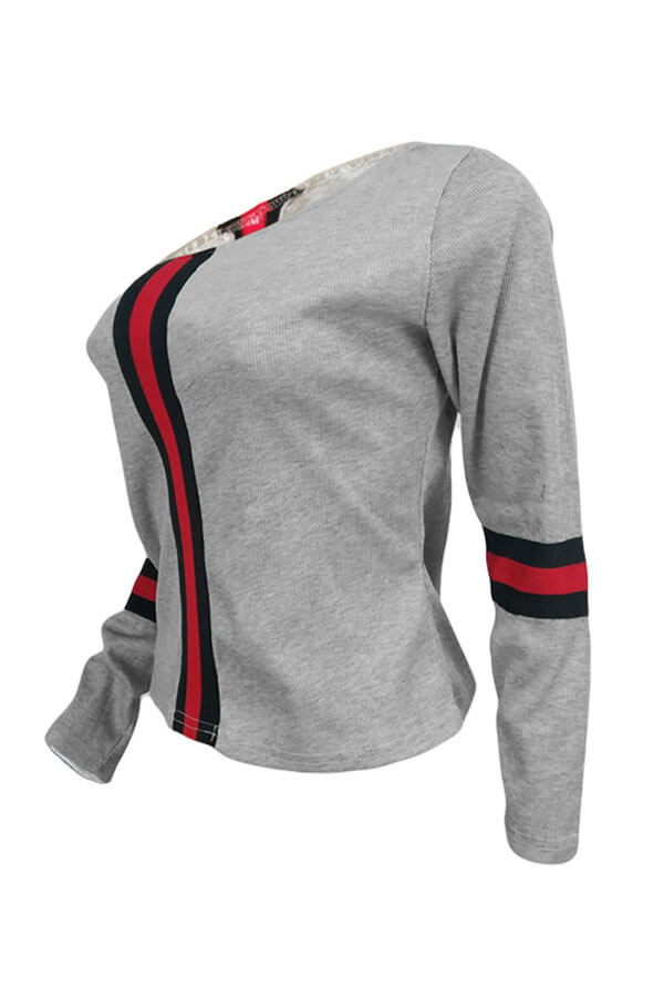 Lovely Casual Sloping Shoulder Patchwork Light Grey Sweaters