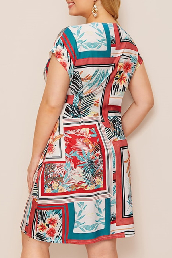 Lovely Bohemian O Neck Printed Red Knee Length A Line Plus Size Dress