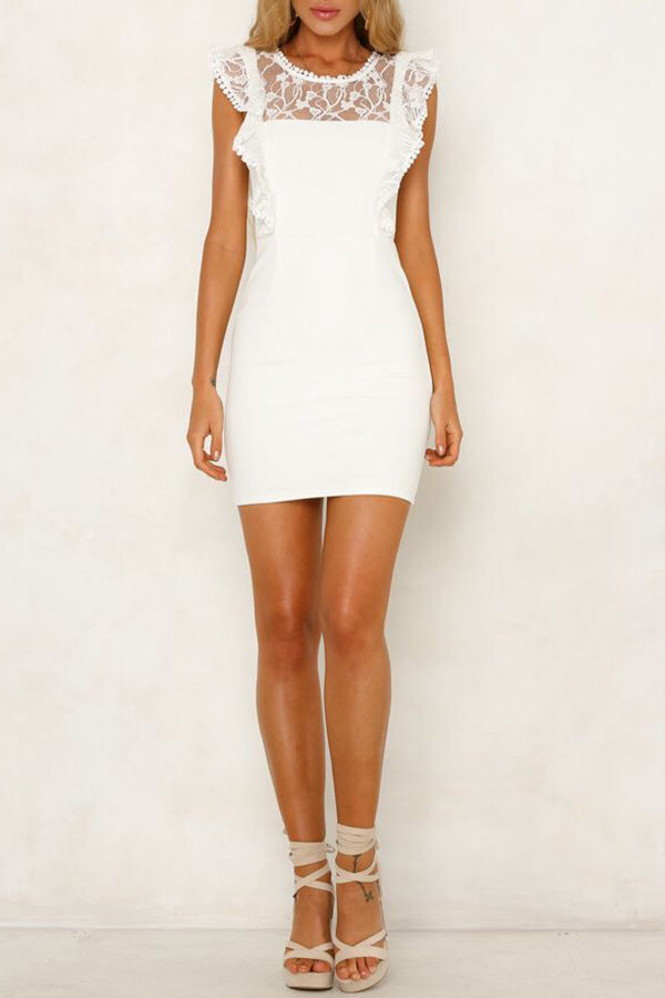 Lovely Sweet Lace Patchwork White Mini OL Dress