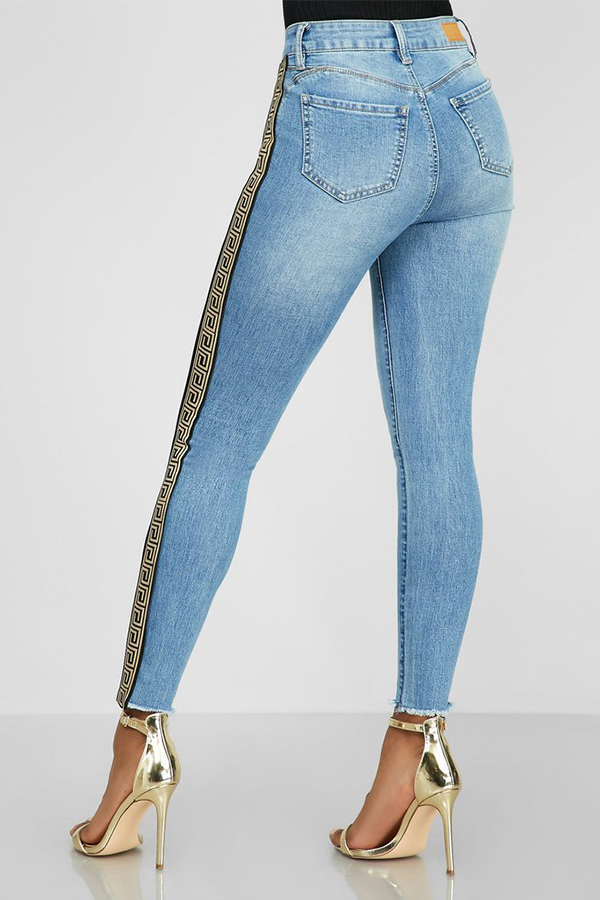Lovely Casual High Waist Patchwork Blue Jeans