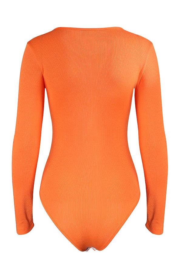 Lovely Casual Letter Printed Orange Bodysuit