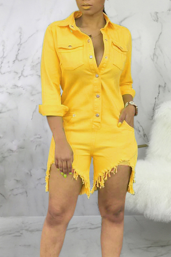 Lovely Casual Buttons Design Earthy Yellow Denim One-piece Romper