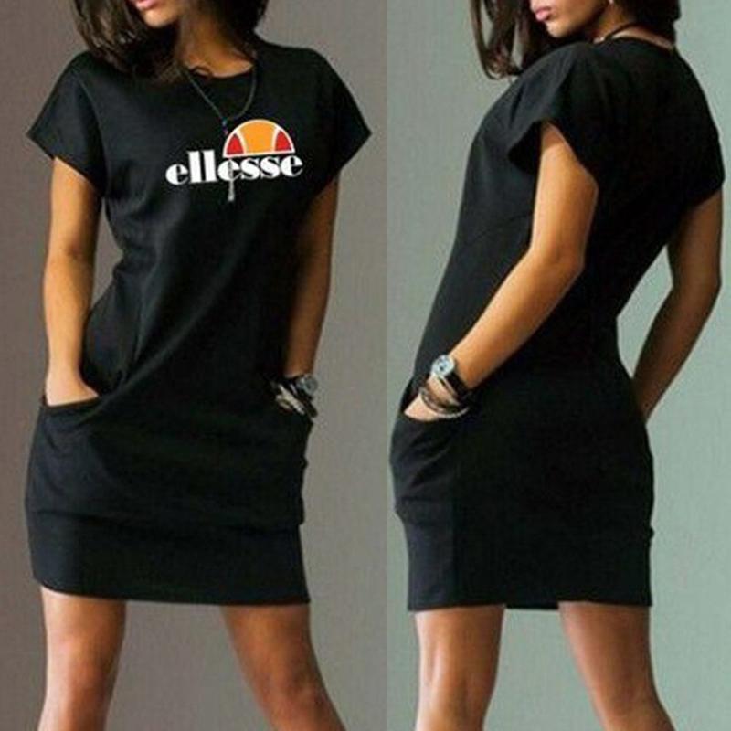 Lovely Casual O Neck Letter Printed Black Mini Dress