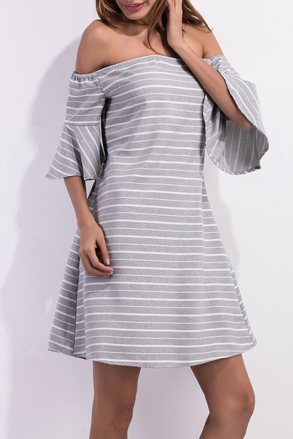 Lovely Casual Off The Shoulder Striped Grey Mini Dress