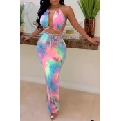 Lovely Sexy Halter Neck Printed Hollow-out Pink An