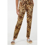 Lovely Casual Leopard Printed Yellow Pants