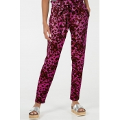 Lovely Casual Leopard Printed Purple Pants