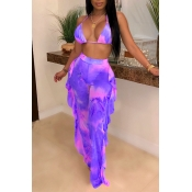 Lovely Print Ruffle Design Purple Two-piece Swimsuit