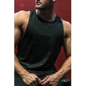 Lovely Casual Printed Black Cotton Vest