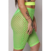 Lovely Sexy High Waist Hollow-out Green Shorts(Wit