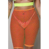 Lovely Sexy High Waist Hollow-out Orange Shorts(Without Lining)