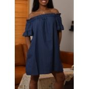 Lovely Casual Off The Shoulder Ruffle Design Deep