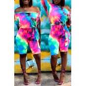 Lovely Casual Off The Shoulder Tie-dye Printed Mul