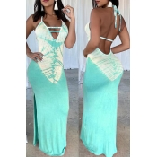 Lovely Sexy V Neck Printed Backless Baby Blue Floor Length Dress