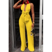 Lovely Sexy Deep V Neck Lace-up Yellow One-piece Jumpsuit