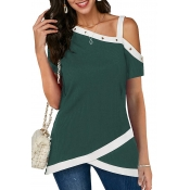 Lovely Casual One Shoulder Patchwork Deep Green Bl