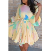 Lovely Sweet O Neck Patchwork Lace-up Yellow Mini A Line Dress (Without Belt)