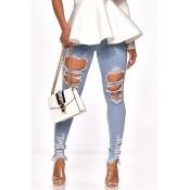 Lovely Stylish Broken Holes Baby Blue Jeans