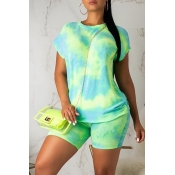 Lovely Casual O Neck Tie-dye Light Green Two-piece