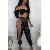 Lovely Casual Camouflage Printed Side Split Pants