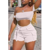 Lovely Casual Off The Shoulder White Two-piece Shorts Set
