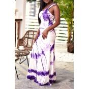 Lovely Casual U Neck Printed Purple Floor Length D