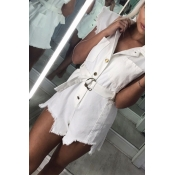 Lovely Work Buttons Design White One-piece Romper