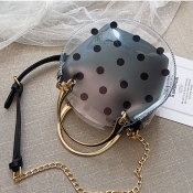 Lovely Stylish Dot Printed See-through Black PU Cr