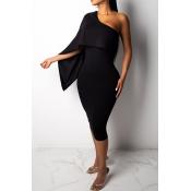 Lovely Stylish One Shoulder Black Knee Length Prom