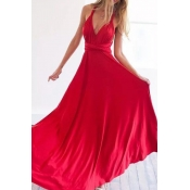Lovely Stylish Halter Neck Hollow-out Red Floor Le
