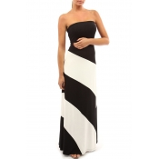 Lovely Work Off The Shoulder Striped Patchwork Bla