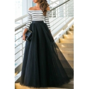Lovely Casual Striped Patchwork Black Floor Length