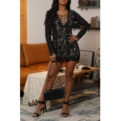 Lovely Sexy V Neck Hollow-out Lace Patchwork Black
