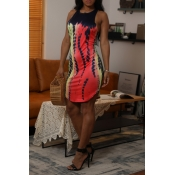 Lovely Leisure O Neck Printed Gradient Mini Dress