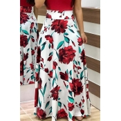 Lovely Stylish High Waist Floral Printed White Ank