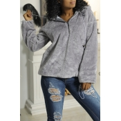 Lovely Chic Hooded Collar Zipper Design Grey Velvet Hoodie