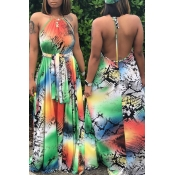 Lovely Sexy Halter Neck Printed Backless Multicolo