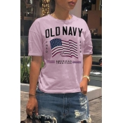 Lovely Leisure O Neck Letter Printed Light Pink T-