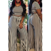 Lovely Casual Striped Printed White Two-piece Pant