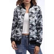 Lovely Stylish Camouflage Printed Grey Jacket