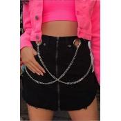 Lovely Casual Zipper Design Black Mini A Line Skir